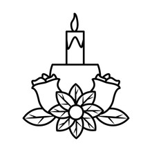 Candlestick With Flowers In Wh...