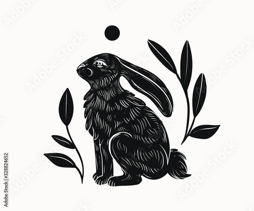 Canvas Print Easter rabbit isolated vector illustration in linocut style