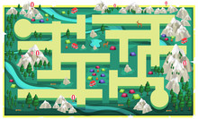 Map Green Nature Rocks Mountain With Path And Big Trees, Colorful Tent Camping, Van, Deers And Woods For 2D Game Platformer Vector Illustration