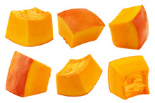 Piece Of Pumpkin, Cubes, Isolated On White Background, Clipping Path, Full Depth Of Field