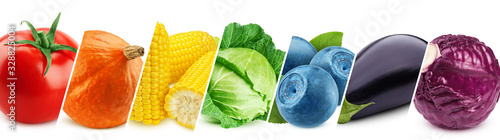 Collage of fresh color vegetables, healthy food concept - 328825004
