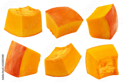 Obraz piece of pumpkin, cubes, isolated on white background, clipping path, full depth of field - fototapety do salonu