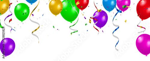 Fototapeta Set color balloons, confetti concept design template holiday Happy Day, background Celebration Vector illustration. obraz
