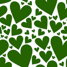 Vector Seamless Pattern With Green Hearts On A White Background. Suitable For St. Patrick's Day Or Spring Design.