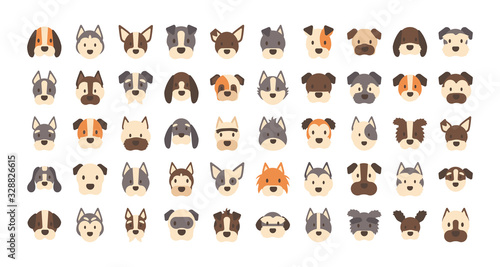 Leinwand Poster set of icons of faces different breeds of dogs