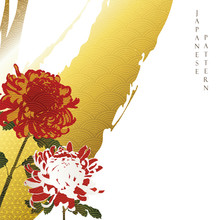 Chrysanthemum Background With Japanese Wave Pattern Vector.Flower Decoration With Brush Stroke Elements. Oriental Floral Wallpaper.