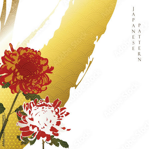 Chrysanthemum background with Japanese wave pattern vector Wallpaper Mural