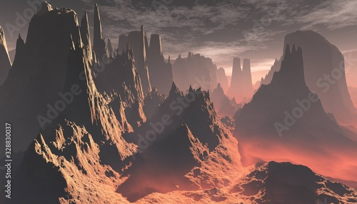 Valokuvatapetti Planet Mars, an alien at sunset, the surface of Mars, canyons on Mars, 3D render