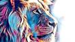 canvas print picture - lion art illustration drawing