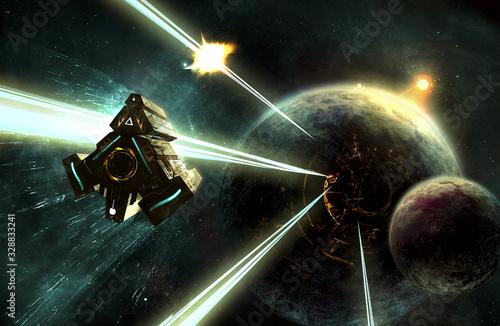 Photo un vaisseau spatial est attaqué en approchant d'une planète