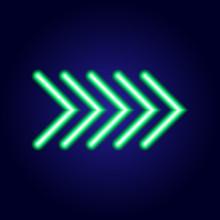 Neon Glowing Green Arrow Point...