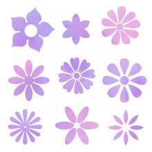Set Of Pink Lilac Purple Water...
