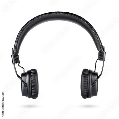 Obraz Wireless black on-ear headphones isolated on white - fototapety do salonu