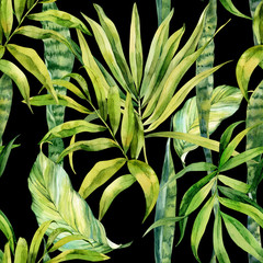 Fototapeta Do jadalni Watercolor seamless pattern, palm leaves, sansevieria flower, houseplant, watercolor painting, botanical illustration, floral design. Fabric wallpaper print texture.