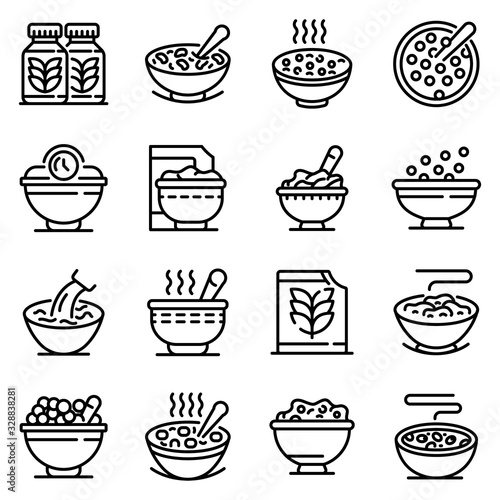 Cereal flakes icons set Wallpaper Mural