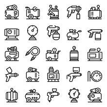 Air Compressor Icons Set. Outl...