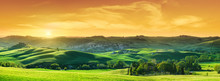 Idyllic View, Green Tuscan Hills In Light Of The Setting Sun