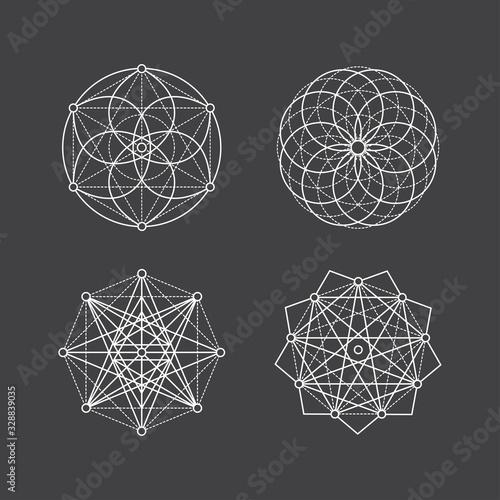 Set of geometric mandala esoteric sacred geometry shapes Fototapete