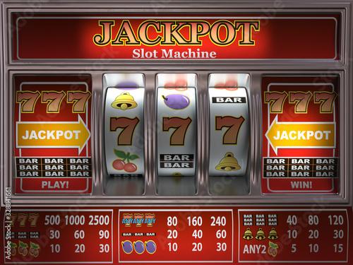 Obraz Slot machine in a casino. Onliine casino and gambling background. - fototapety do salonu