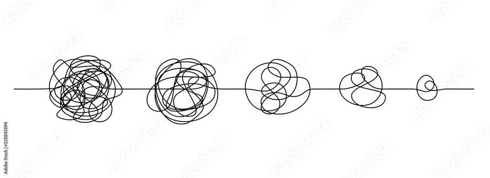 Fototapeta Doodle line knot. Messy hand drawn lines, chaos to simplicity and confusion to clarity concept. Vector illustration curve idea, thought process and multiple solutions