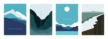 Mountain Abstract Poster. Geometric Landscape Banners With Hills, Rivers And Lakes, Minimalist Nature Scenes. Vector Illustration Graphic Flyers With Flows And Curved Stream
