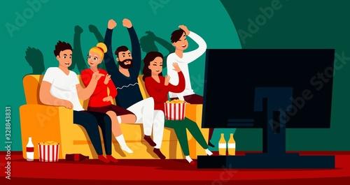 Friends watching TV Wallpaper Mural