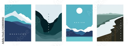 Fototapeta Mountain abstract poster. Geometric landscape banners with hills, rivers and lakes, minimalist nature scenes. Vector illustration graphic flyers with flows and curved stream obraz