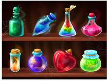 Potion Bottles. Game Alchemist...