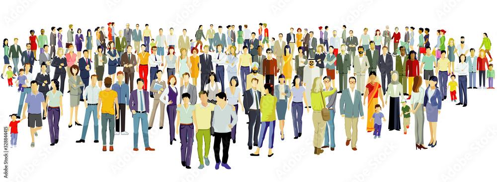 Fototapeta Große Gruppe von Menschen auf weißem Hintergrund.Vektor Illustration
