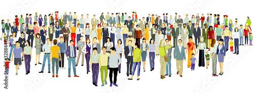 Obraz Große Gruppe von Menschen auf weißem Hintergrund.Vektor Illustration - fototapety do salonu