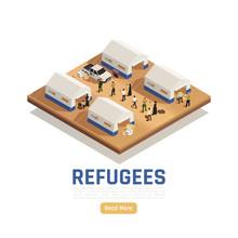 Refugees Asylum Isometric Background