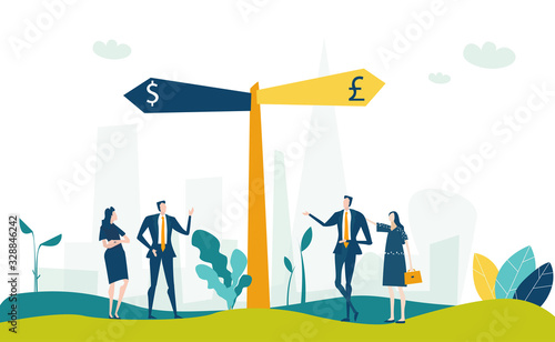 Two way sign post and business people negotiating the deal Wallpaper Mural