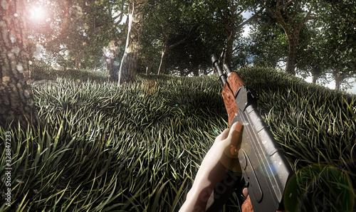 Realistic first person shooter war game screenshot concept - man running with ak Canvas Print