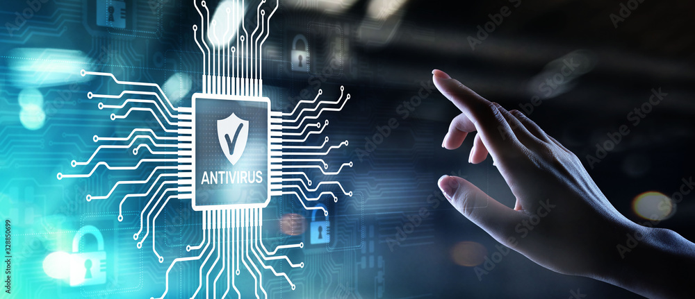 Fototapeta Antivirus Cyber security Data protection Technology concept on virtual screen.