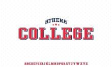 ATHENA COLLEGE, VARSITY HIGH SCHOOL SPORTY UNIVERSITY FONT ALPHABET