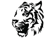Head Of A Tiger. Styling The Head For Your Design. Vector Illustration, Isolated Objects.