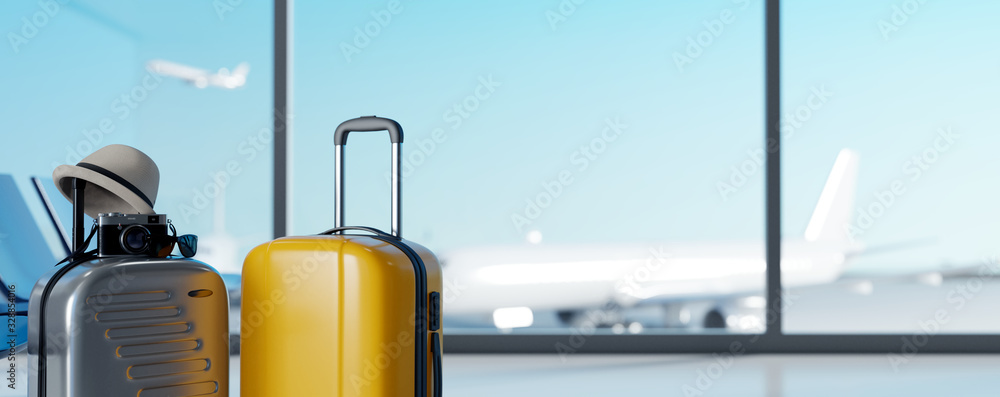 Fototapeta Suitcases in airport on blurred airstrip background. Travel concept. 3d rendering
