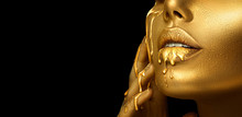 Gold Paint Smudges Drips From ...