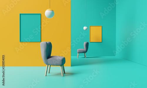 Obraz Creative interior design. Minimal color concept. 3d rendering - fototapety do salonu