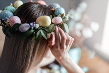 Woman In Easter Wreath At The ...