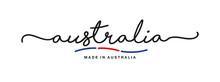 Made In Australia Handwritten Calligraphic Lettering Logo Sticker Flag Ribbon Banner