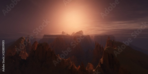 Valokuva Planet Mars, an alien at sunset, the surface of Mars, canyons on Mars, 3D render