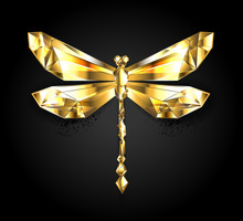 Gold Polygonal Dragonfly