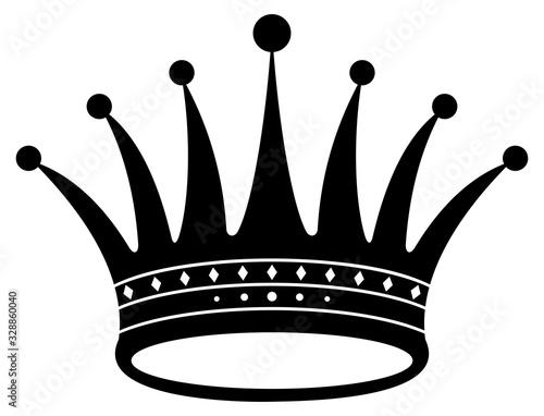Obraz na plátně Krone in schwarz auf einem weißen isolierten Hintergrund.