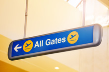 All Gates Direction Blue Sign ...