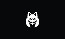 White Wolf On Black Background