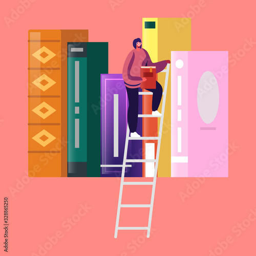 Woman in Library Reading and Searching Books Wallpaper Mural