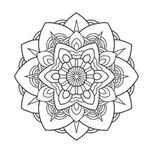 Floral Decorative Mandala With Small Pattern On White Isolated Background. For Coloring Book Pages.