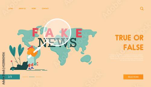 Social Mass Media Forgery, False Information Landing Page Template Wallpaper Mural