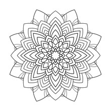Mandala With Striped Decor On White Isolated Background. Good For Coloring Book Pages.